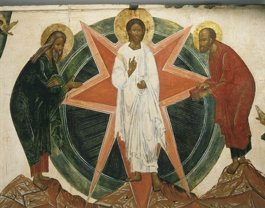Stock Photo: 4069-6643 Christ surrounded by Moses and Elijah, the Transfiguration, 18th century, central Russian, from Banca Intesa Collection of Russian Icons, detail
