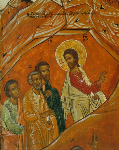 Christ followed by the Three Apostles, Peter, John and James, the Transfiguration, 18th century, central Russian, from Banca Intesa Collection of Russian Icons, detail : Stock Photo