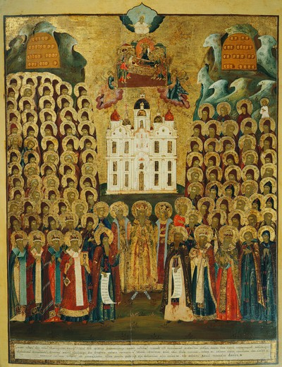 Stock Photo: 4069-6647 Miracle-working saints of Kiev monastery, 18th century, central Russian, Banca Intesa Collection of Russian Icons