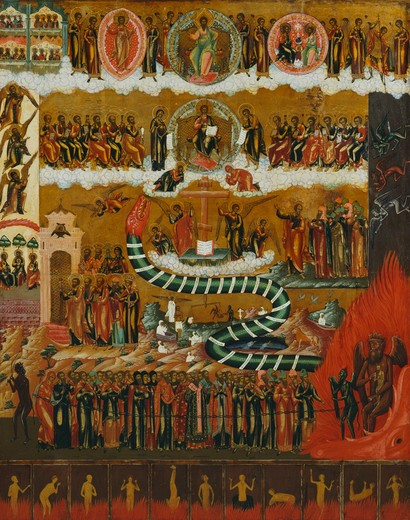 The Last Judgement, 19th century, central Russian, early 19th century, Banca Intesa Collection of Russian Icons : Stock Photo