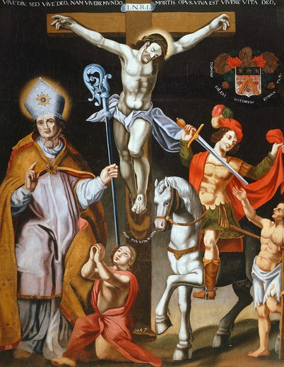 Christ on the Cross with Saint MARTIN, c.315-c.399, Bishop of Tours, and Saint CLAUDE, 1657 : Stock Photo