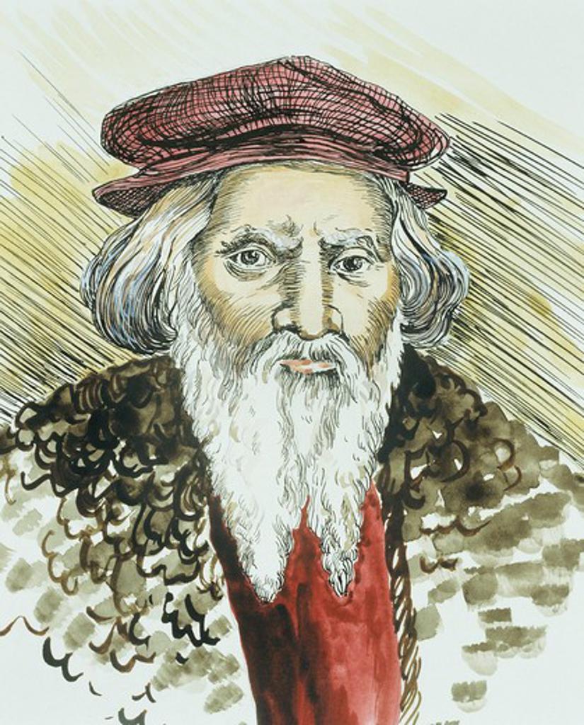 Stock Photo: 4069-6784 Sebastian CABOT, 1476/82-1557, English-Italian explorer, modern watercolour