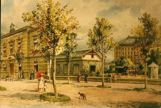 Promenade in Vienna, Watercolour by Marc Bradtend 1800 : Stock Photo