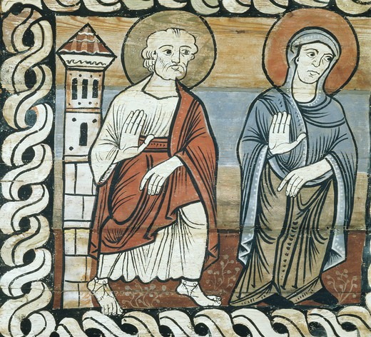 Joseph and Mary during the childhood of Jesus, Romanesque painted ceiling, c. 1150, Grisons canton, Switzerland, detail : Stock Photo