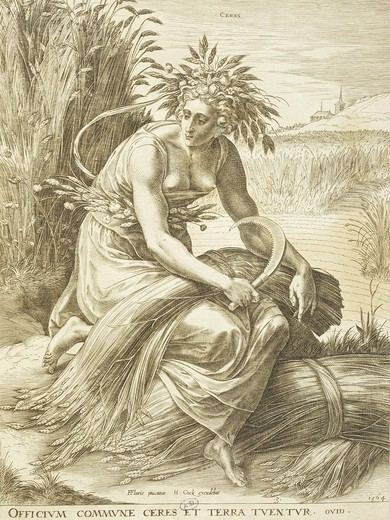Stock Photo: 4069-6883 CERES, goddess of fertility, wheat and summer, engraving by Frans Floris de Vriendt, c. 1518-1570, 16th century, Flanders