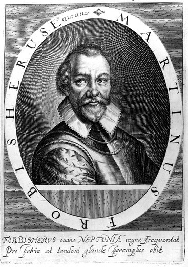 Stock Photo: 4069-6996 Sir Martin FROBISHER c.1535-94, English sailor and explorer who in quest for North west passage to China, reached Labrador in 1576. He also commanded a vessel in Drake's expedition to West Indies. Engraving c. 1620 from H. Holland, Herwologia