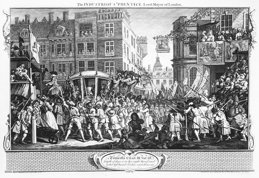 Stock Photo: 4069-7001 Industry and Idleness: The industrious prentice Lord Mayor of London, November 9, 1746, engraving. Procession moves east along Cheapside from Paternoster Row and St Paul's Churchyard on right. St Paul's east end is behind pub where Frederick Prince of Wales stands. Francis Goodchild is in coach and City Marshal is at window