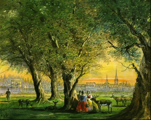 Stock Photo: 4069-709 View of Vienna with sunset over the Prater watercolour by W. Frey end 19th century