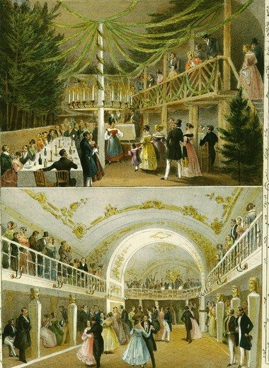 Stock Photo: 4069-728 Interior of the ballroom of the Eliseum in Vienna aquatint 19th century
