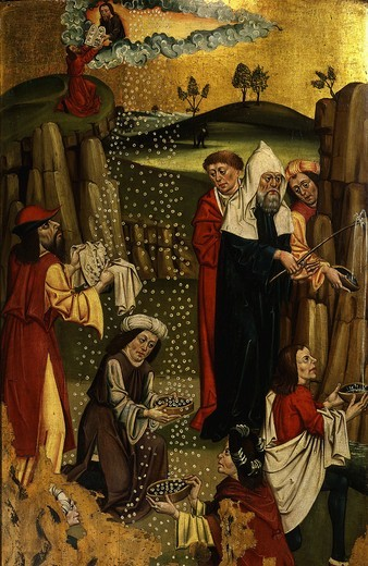 Moses brings forth water from rock and manna from desert, Gothic Czechoslovakian, 1480-90 : Stock Photo