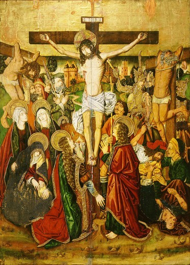 Stock Photo: 4069-761 The Crucifixion, retable of Church of Blesa (1485-7)