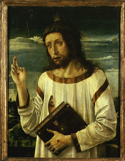 Christ's blessing, showing stigmata and carrying Gospel, c. 1465-70 : Stock Photo