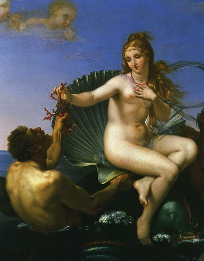 The Triumph of Galatea, detail with triton holding coral : Stock Photo
