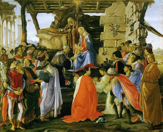 Adoration of the Magi, c.1473, showing Lorenzo de Medici, Pico della Mirandola (in red cap), Cosimo de Medici (in front of the child), Piero de Medici (red cape), Giovanni de Medici (in white), Giuliano de Medici (black cape), with self portrait of Botticelli (far right) : Stock Photo