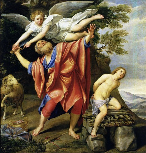 Stock Photo: 4069-890 Sacrifice of Isaac, Abraham restrained by angel, c. 1630