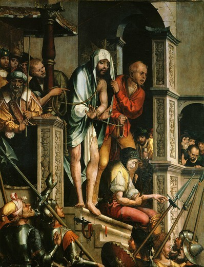 Ecce Homo, Christ shown to the people by Pontius Pilate, c. 1522, from Sta Cruz, Coimbre, Portugal : Stock Photo