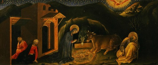 Stock Photo: 4069-951 Predella to Adoration of the Magi, with scene of Nativity, 1423