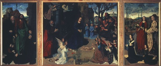 The Portinari Altarpiece, triptych with Adoration of Shepherds, donors and Saints Antony Abbot and Thomas (left), Margaret and Mary Magdalene (right), c.1476-9 : Stock Photo