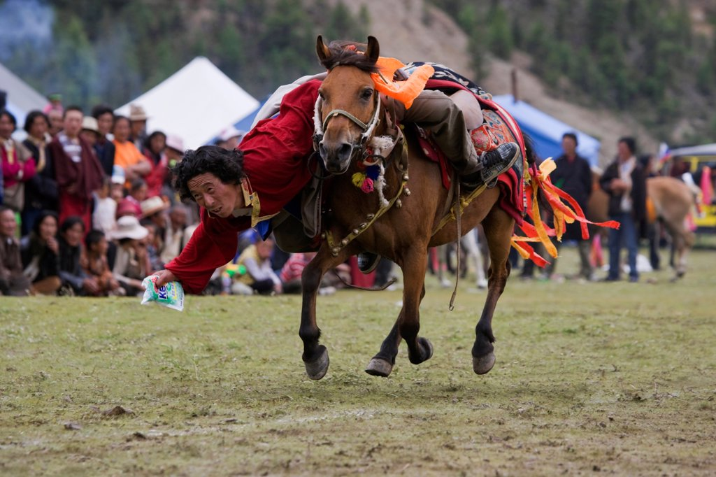 A Khampa warrior, mounted on his running Tibetan horse, tries to catch sweets laid out on the ground, during the horse festival, near Huangyan, in the Garze Tibetan Autonomous Prefecture in the Sichuan Province, China, June 2010 : Stock Photo