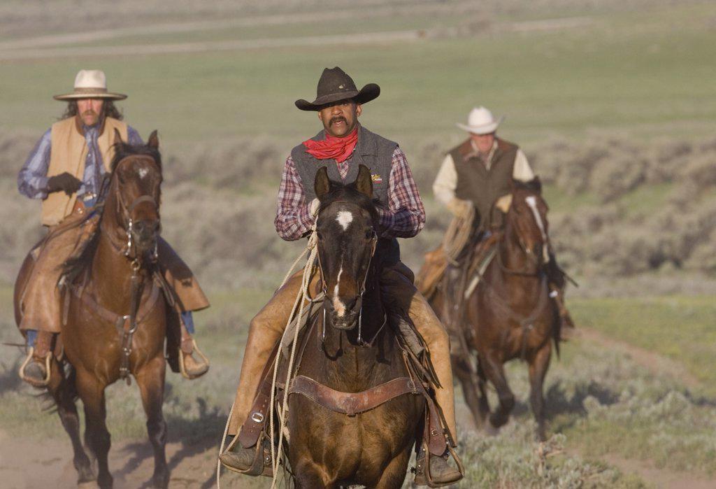 Stock Photo: 4070-6778 Cowboys riding horses at Sombrero Ranch in Craig, Colorado.