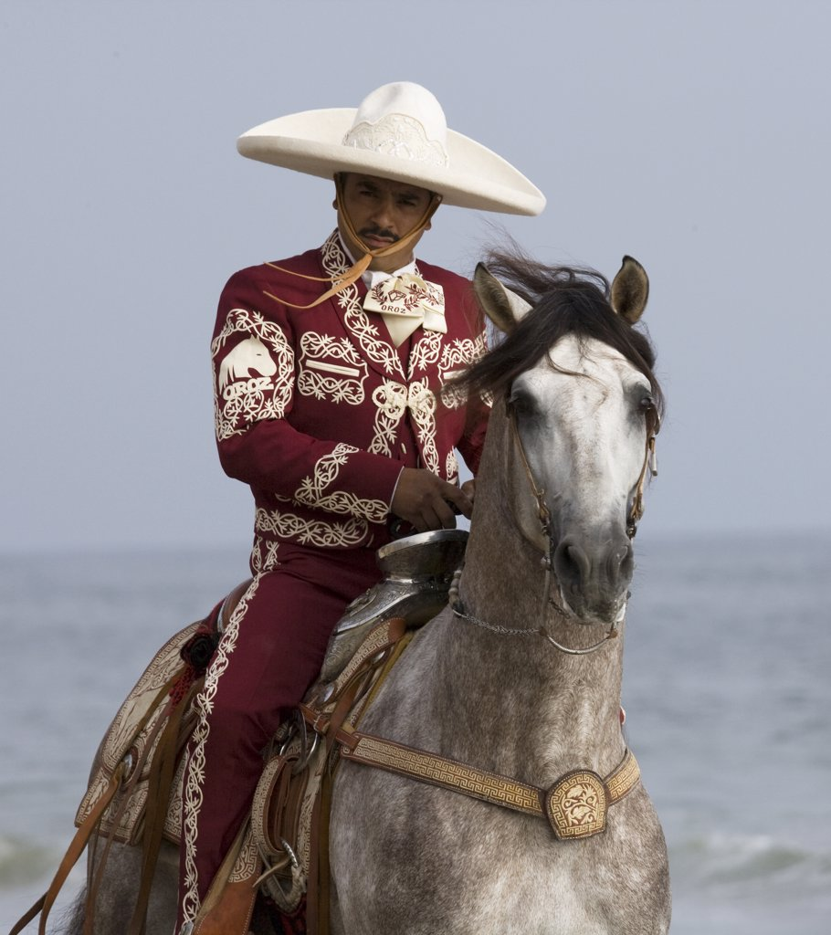 Stock Photo: 4070-6955 Charro riding grey Andalusian stallion on the beach in traditional costume, Ojai, California, USA, model released