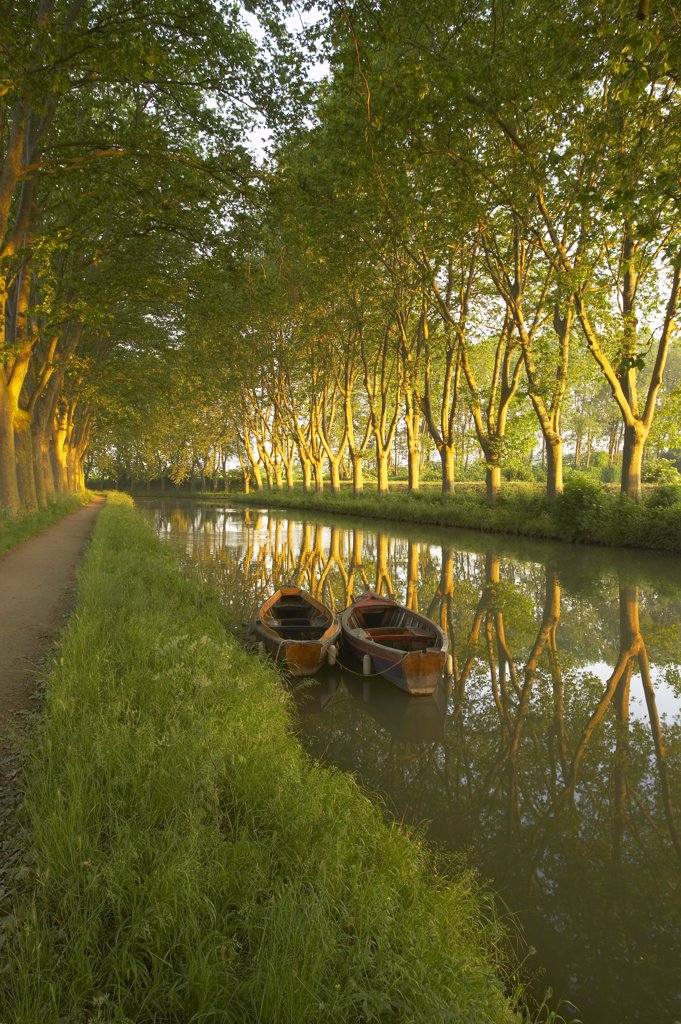 Boats on the Canal du Midi, nr Carcassonne, Languedoc, France : Stock Photo