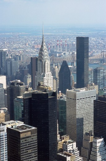 Stock Photo: 4073-1885 Elevated view of New York City Skyline, USA