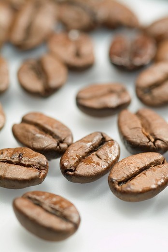 Stock Photo: 4073-1979 Close_up of coffee beans on white background