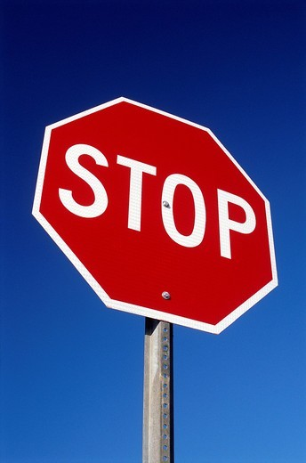 Stock Photo: 4073-2020 Red Stop sign against blue background, Los Angeles, California, USA