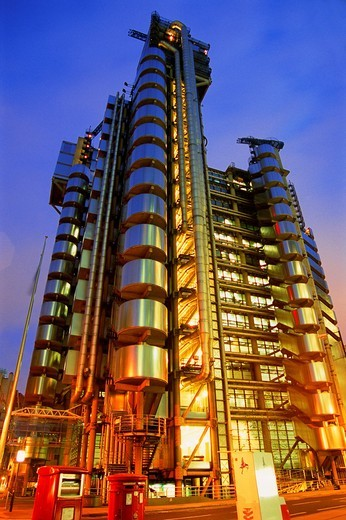 Stock Photo: 4073-2117 Lloyds building, Financial district, London, UK