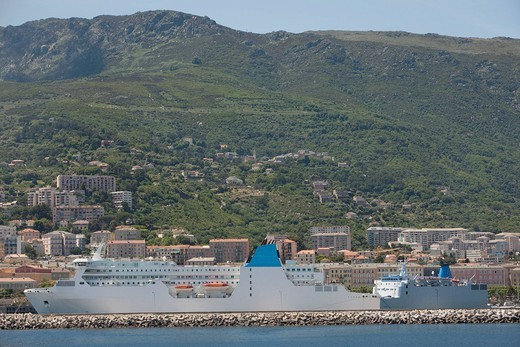 Ocean liner, Bastia, Corsica : Stock Photo
