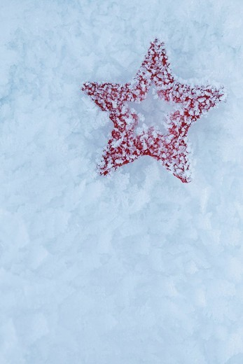 Stock Photo: 4073R-4189 Red star Christmas decoration lying in snow, close_up