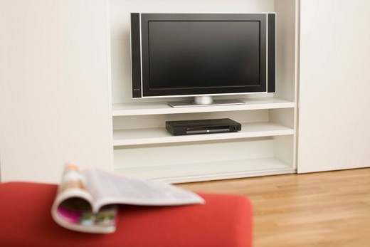 Stock Photo: 4073R-4501 Flat screen TV and magazine
