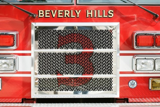 Stock Photo: 4073R-5013 Beverly Hills fire engine, Los Angeles, California, USA