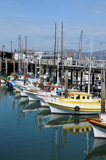 Stock Photo: 4076-127 Sailboats on a dock, San Francisco, California, USA