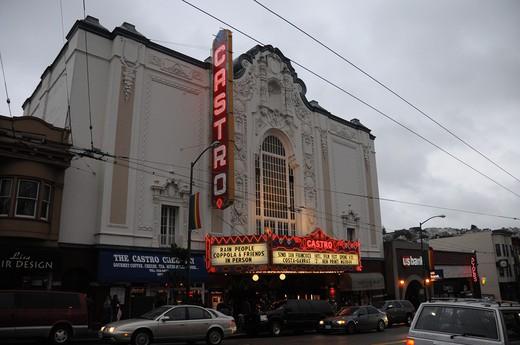 Facade of a stage theater, Castro Theatre, San Francisco, California, USA : Stock Photo