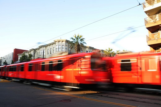 Stock Photo: 4076-191 Cable car in a street, San Diego, California, USA