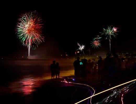 Fourth of July celebration with fireworks on the beach, Atlantic Beach, Jacksonville, Florida, USA : Stock Photo