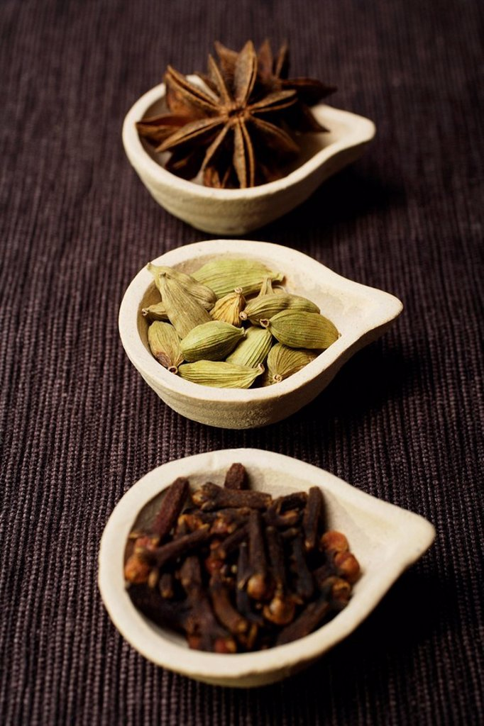 Stock Photo: 4078R-1991 Still life of Indian spices.