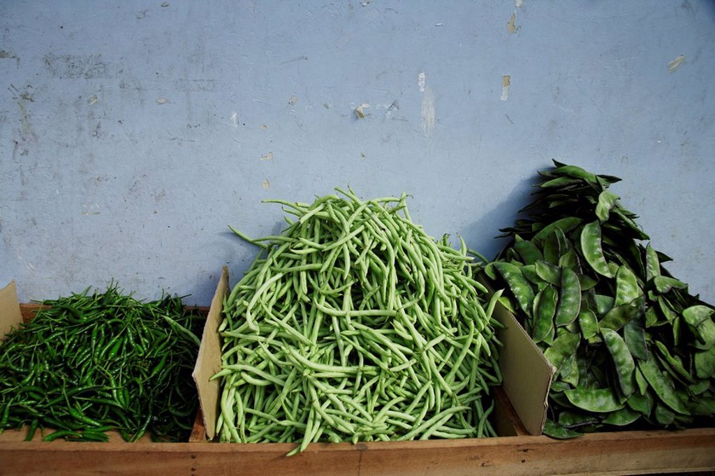 Three types of green beans in Little India,Singapore. : Stock Photo