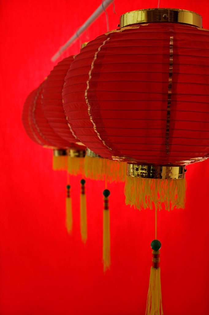 Still life of a row of red lanterns : Stock Photo