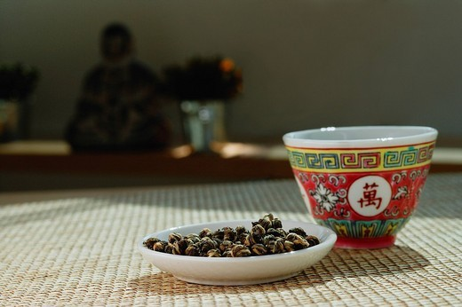 Still life with Chinese teacup and plate : Stock Photo