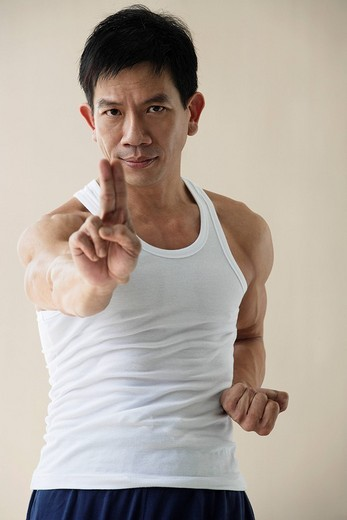 Man in martial arts pose : Stock Photo