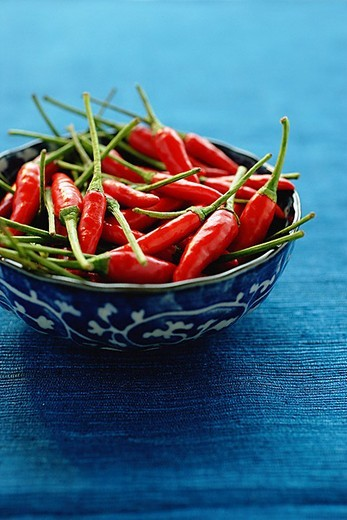 Stock Photo: 4079R-4715 Still life of chilies in bowl on blue mat