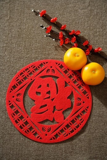 Stock Photo: 4079R-5953 Still life of pair of mandarin oranges with Chinese character for fortune