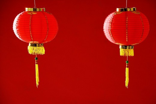 Still life of a pair of red lanterns : Stock Photo