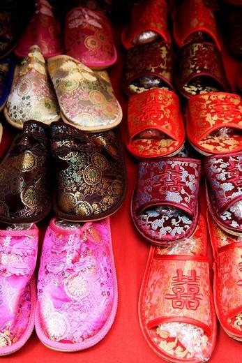 Stock Photo: 4079R-8103 Silk Chinese slippers