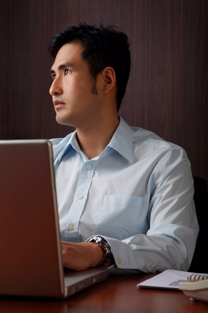 Stock Photo: 4079R-9361 man working on lap top looking up