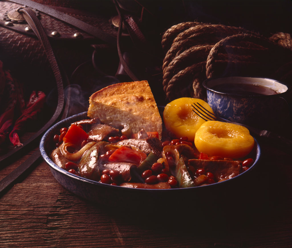 Western corn bread and beef stew with beans : Stock Photo