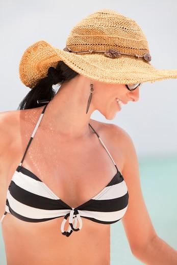 Smiling Woman in Bikini and Floppy Hat on Beach, Aruba : Stock Photo